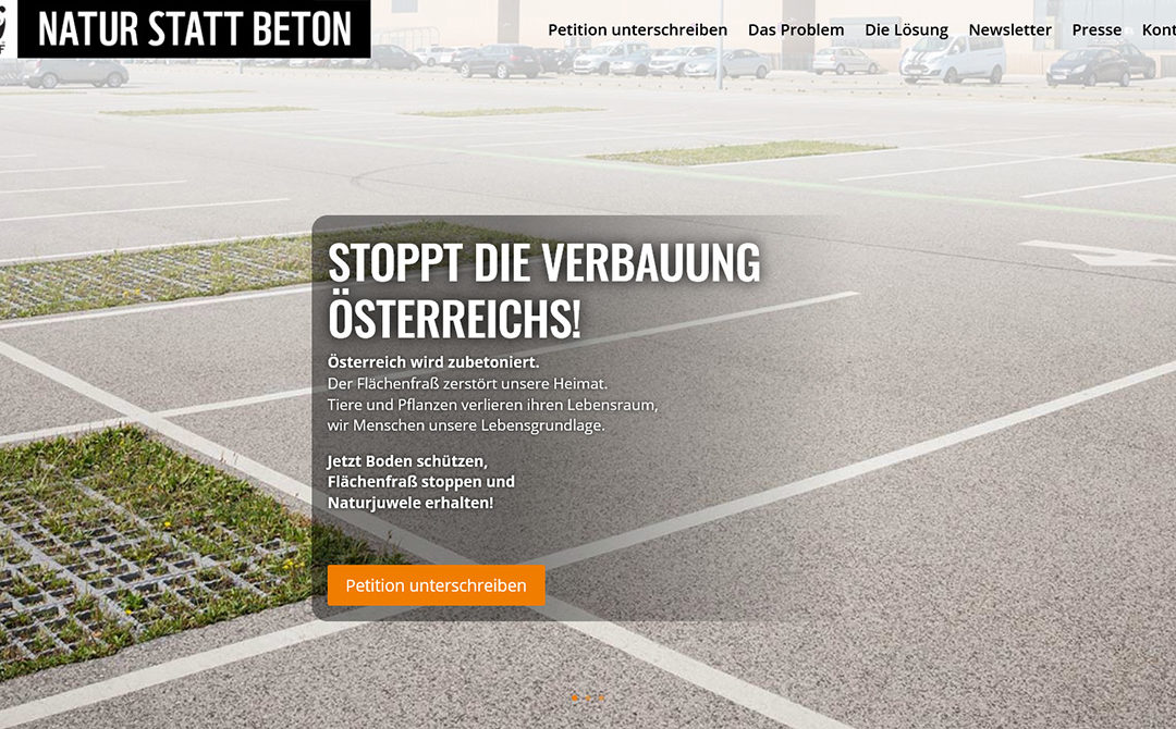"Online Kampagnenführung WWF ""Natur statt Beton"""